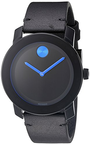 Movado Men's Swiss Quartz Stainless Steel and Leather Watch, Color: Black (Model: 3600307) (Mens Black Movado Watch)