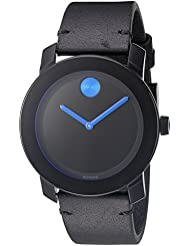 Movado Mens Swiss Quartz Stainless Steel and Leather Watch, Color: Black (Model: 3600307)