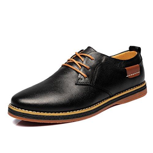 GRRONG Scarpe Casual Di Cuoio Di Prima Classe Scarpe Da Uomo Moda Scarpe Da Uomo,Black-37