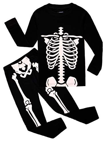Family Feeling Little Boys Girls Golw-in-The-Dark Skeleton Halloween Pajamas Sets Long Sleeve Kids Toddler Pjs Size 4T