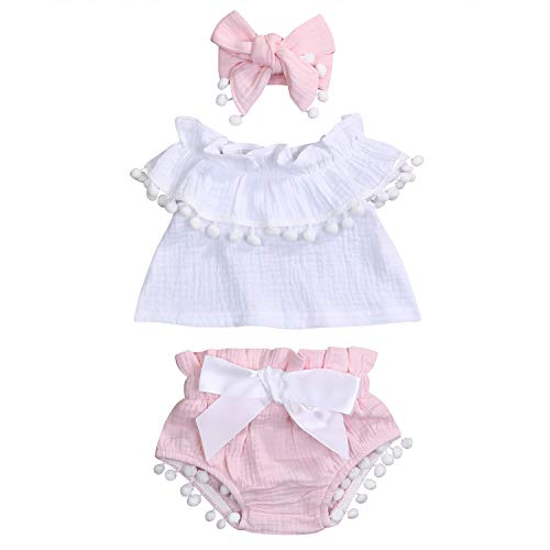 Noubeau Cute Baby Girl Sleeveless Linen Ruffled Solid Color Pom-pom Shirt High Waist Shorts Headband 3 Pieces (Pink, 18-24 m) ()