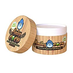 Smiley Coco Teeth Whitening Powder   Cool Mint flavor, Clean, Organic Whitener Effective in Stain, Tartar, Yellow teeth   Removes Bad Breath - Fluoride Free - Natural Whitening White Powder