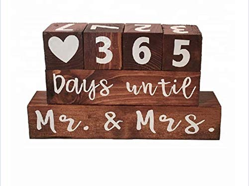 Wooden Block Wedding Day Countdown Calendar, Mr. & Mrs. Days Until, Numbered Blocks, Engagement Gift, Wedding Congratulations, Bridal Shower, Newlyweds, Wedding Gift for Couple BLKD Products