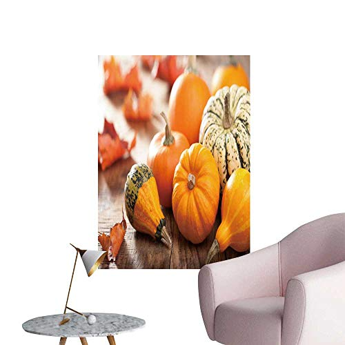 SeptSonne Wall Decals Decorative Pumpkins Autumn Leaves for Halloween Environmental Protection Vinyl,28
