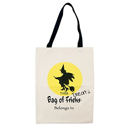 TRIXES Halloween Witch Trick or Treat Canvas Bag (Halloween Broomstick Treat Bags)
