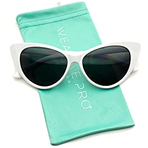Vintage Inspired Fashion Mod Chic High Pointed Cat Eye Sunglasses for Women (White Frame)