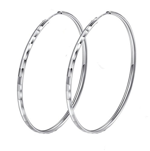 TomSunlight 925 Sterling Silver Big Rounded Hoop Earrings for women (Size 40mm to 60mm) (55mm Hoop)