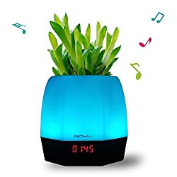 iGOKU Magic Music Plant Pot with Bluetooth Speaker, Table Lamp, LED Clock, Alarm Clock All in One. Ideal as Kitchen / Dining / Living Room / Coffee / Party / Christmas / Thanksgiving Table Decor