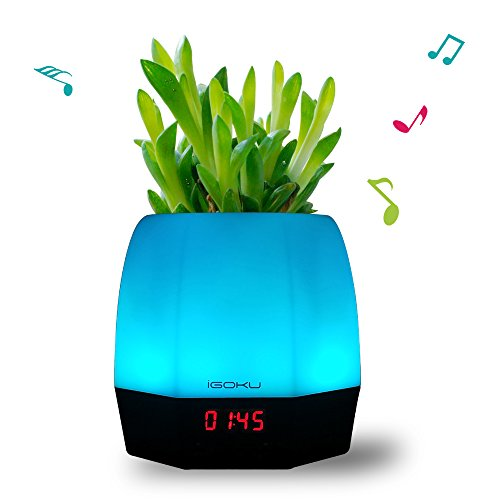 IGOKU Magic Music Plant Pot with Bluetooth Speaker, Table Lamp, LED Clock, Alarm Clock All in One. Ideal for Office or Home Décor - Decorative Speaker Light for Party, Relaxing, Meetings, Celebrations