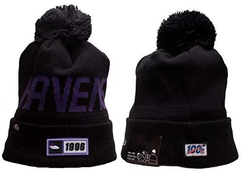 MVPRING Baltimore Ravens Sports Outdoor Cap Wool Knit Beanie for Winter Sports Hat Footbal Team Sports Team Cap 100 Commemorative Version Rubber Logo