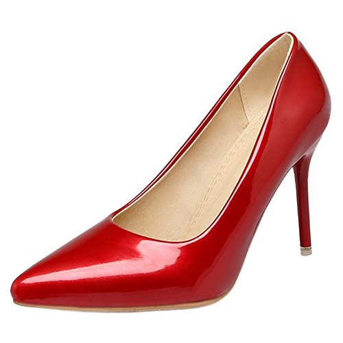 COOLCEPT Damen Solid Slip On Stiletto Pumps Red