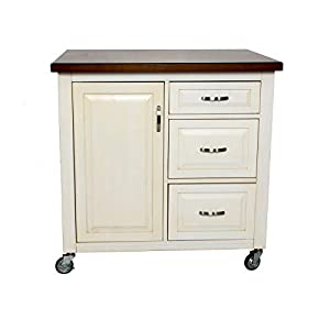Sunset Trading Andrews Kitchen Cart, Medium, One Size, Distressed antique white with chestnut top
