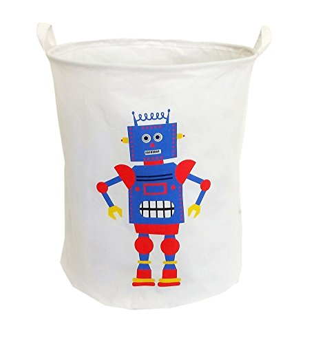 19.7Large Sized Waterproof Foldable Laundry Hamper Bucket,Dirty Clothes Laundry Basket, Bin Storage Organizer for Toy Collection,Canvas Storage Basket with Stylish Cartoon Design(Robot)