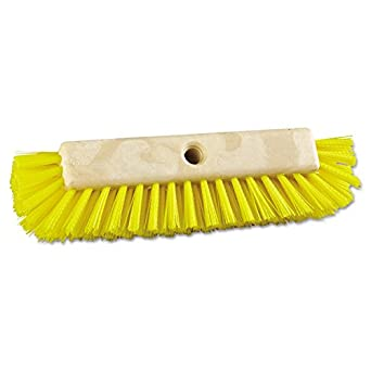 "Boardwalk 3410 Dual-Surface Scrub Brush, Plastic, 10"", Yellow Handle"