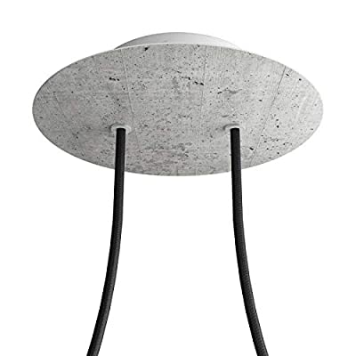 2 Holes - Large Round Ceiling Canopy Kit - Rose One System - Concrete