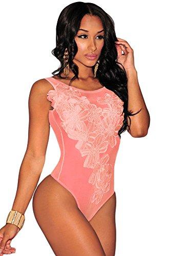 Da donna a forma di orsetto, colore: rosa trasparente con motivo floreale Body Lingerie Monokini Body Teddies Pole Dance, taglia S 8-10