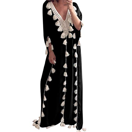 Lelili Women Bohemia Long Maxi Dress Ethnic Style Tassel Lace Hollow Half Sleeve V Neck Floor Length Dress Black