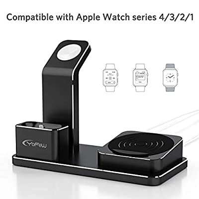 YoFeW Charging Stand Apple Watch Aluminum Watch Charger Stand Charging Station Dock Compatible Apple Watch Series 4/3 /2/1 AirPods, 10W Wireless Charger Pad iPhone XS/X/8/8 Plus