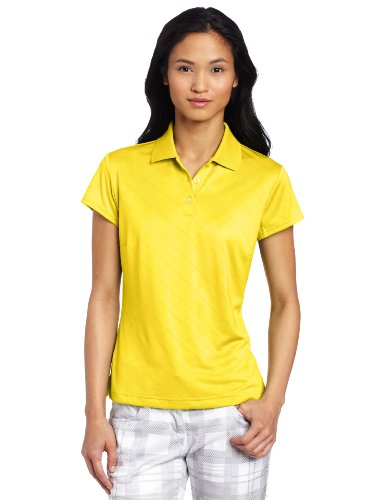 adidas Golf Women's Climacool Textured Solid Polo, Vivid Yellow, Large (Climacool Textured Polo Golf Shirt)