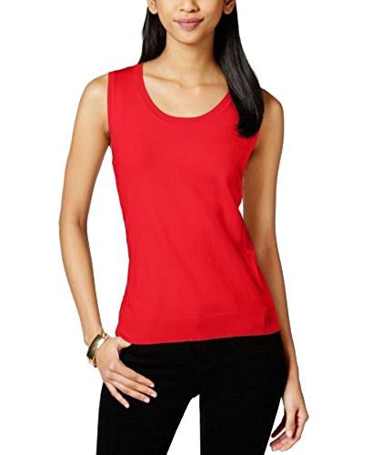 August Silk Scoop-Neck Shell (Medium Red, M) - Silk Blend Sleeveless Top