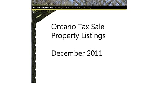 Ontario Tax Sale Property Listing December 2011