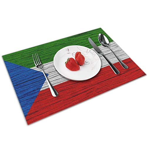 NBteach Flag of Equatorial Guinea Wooden Texture 4 Piece Set of Placemats Pc Party Decor Dining Room Home Ornament Table Place Mat Patio Xmas Holidays Kitchen Decorations Themed Print Pattern ()