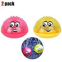 GUCHIS 2pcs Water Spray Toy Baby Bath Toys Electric Induction Water Spray Toys Light & Music Rotatable Play Water Toys for Kids