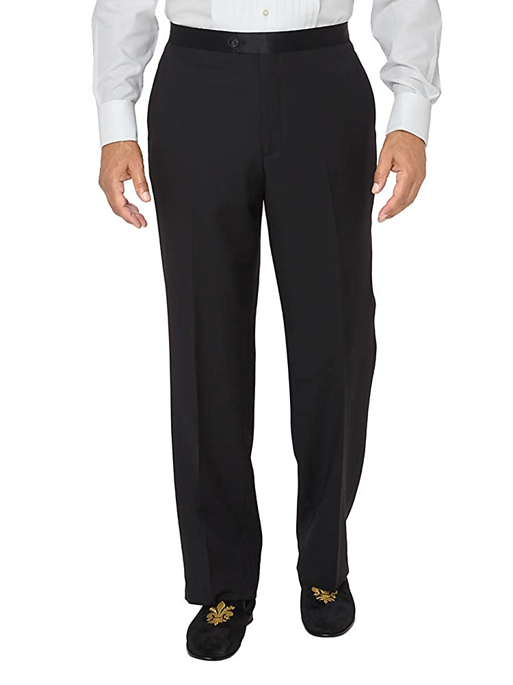1940s Trousers, Mens Wide Leg Pants Paul Fredrick Mens Super 100s Wool Flat Front Tuxedo Pants $144.95 AT vintagedancer.com