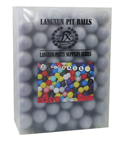Langxun Pack of 200 Silver ( Gray ) Ball Pit Balls - Phthalate Free BPA Free Crush Proof Plastic Ball | Ideal Gifts for Kids & Photo Booth Props for Baby and Kids by Langxun (Image #1)