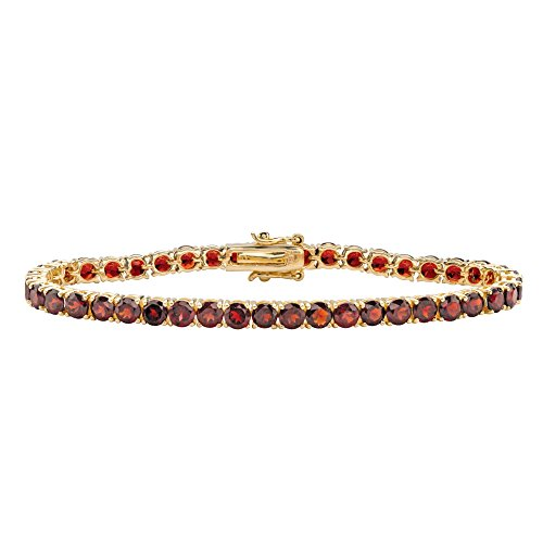 Round Genuine Red Garnet 18k Yellow Gold-Plated Tennis Bracelet 7.25""