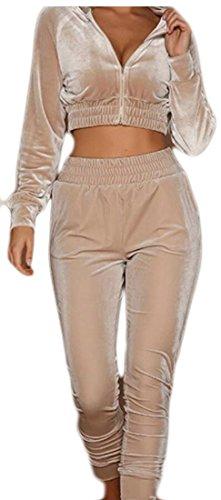 Cropped Velour (GAGA Women's Outfit Velvet Cropped Sweatshirt + Sweatpants Jogger Tracksuit Sets Apricot M)