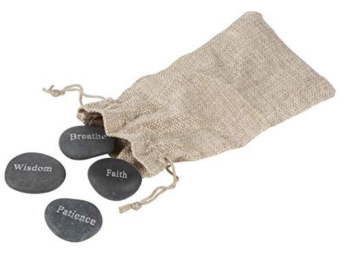 - Juvale Inspirational Stones - 4-Piece Engraved Natural Black Stones, Wisdom, Breathe, Patience, Faith, Positive Words Motivational Stones, Includes Burlap Bag