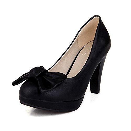 Amoonyfashion Mujeres Pu Solid Pull-on Round Toe Tacones Cerrados Bombas-zapatos Con Arcos Black