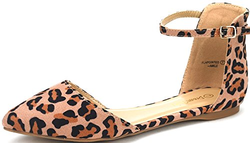 DREAM PAIRS Flapointed-Ankle Women's Casual D'Orsay Pointed Plain Ballet Comfort Soft Slip On Flats Shoes New Leopard Size 8