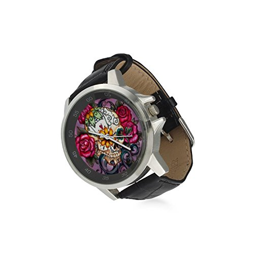Special Design Beautiful Floral Sugar Skull Custom Unisex Stainless Steel Leather Strap Watch Metal Case, Tempered Glass, Black Leather Band