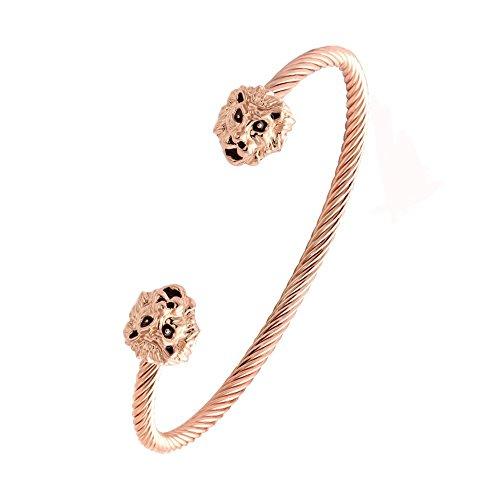 Twist Wire Bracelet - NOUMANDA Women Jewelry Cuff Bangles Both End with Animal Lion Head Wire Twist Bangle Bracelet (Rose Gold)
