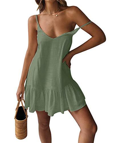 (ECHOINE Womens Casual Plain Swing Short Shift Midi Dress Spagehetti Strap Sundress Olive Green)