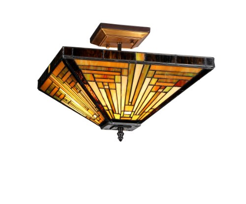 Lighting Innes 2-Light Tiffany Style Mission Semi Flush Ceiling Fixture with 14 in. Shade (Mission Bronze Ceiling Fixture)
