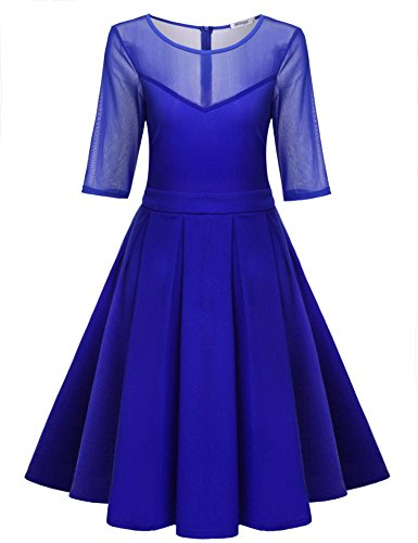 Meaneor Women Celebrity Vintage Half Sleeve Mermaid Midi Prom Cocktail Dress - Sheer Skirt Vintage