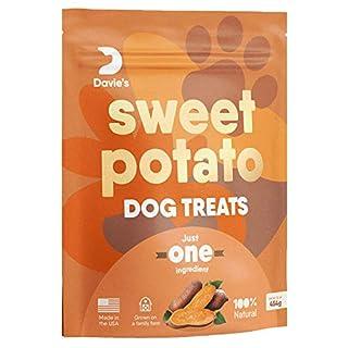 Sweet Potato Dog Treats, Made in The USA, High in Fiber, Grain Free, Vegan, No Preservatives, Vegetarian Alternative to Rawhide Chews, Rich in Vitamins, Large 1 lb. Bag