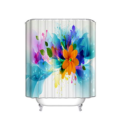Blue Shower Flower Giraffe (FANNEE Abstract Orange Flowers Green Blue Watercolor Idyllic Vertical Stripes Shower Curtain Hooks (Treated to Resist Deterioration Mildew) - 36 X 72 inches)