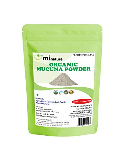 Organic Mucuna Powder/Kapikachhu, Kaunch, Mucuna Pruriens – Herbal Supplement by mi nature 227 Gram/0.5 lb