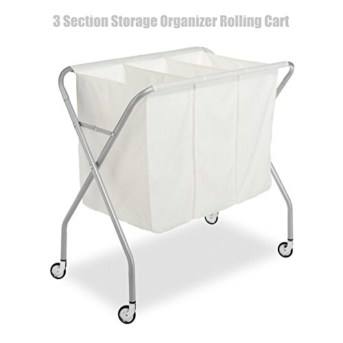 Laundry Sorter 3 Section Household Storage Organizer Rolling Cart Natural Canvas White #555