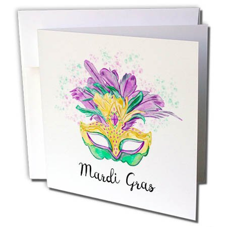 Mardi Birthday Gras Invitations (3dRose Sven Herkenrath Celebration - Mardi Gras New Orleans Confetti Party Celebration - 12 Greeting Cards with envelopes (gc_280331_2))