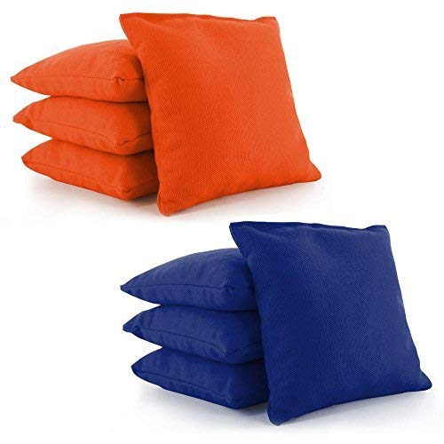 Tailor Spot All Weather Resistant Cornhole Bean Bags (Set of 8) Set Standard ACA/ACO Regulation Plastic Resin Filled 25+ Colors (Orange-Royal Blue) by Tailor Spot