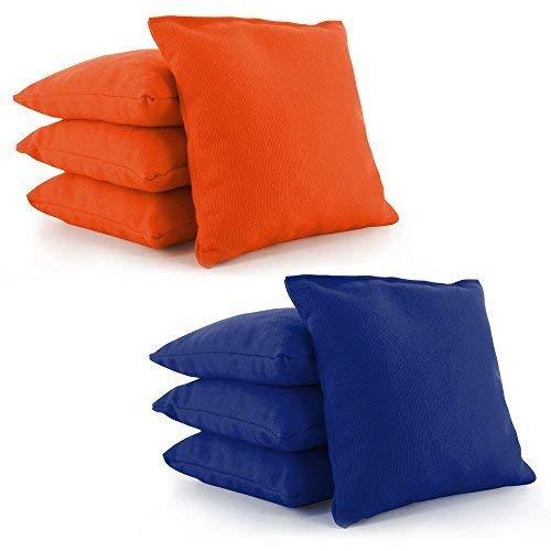 (Tailor Spot All Weather Resistant Cornhole Bean Bags (Set of 8) Set Standard ACA/ACO Regulation Plastic Resin Filled 25+ Colors (Orange-Royal Blue))