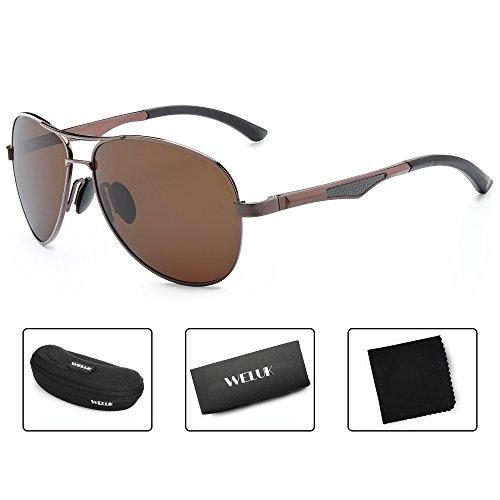 WELUK Aviator Sunglasses for Men Polarized Military Mirrored Pilot Retro Glasses (Amber & Amber, - Aviators Military
