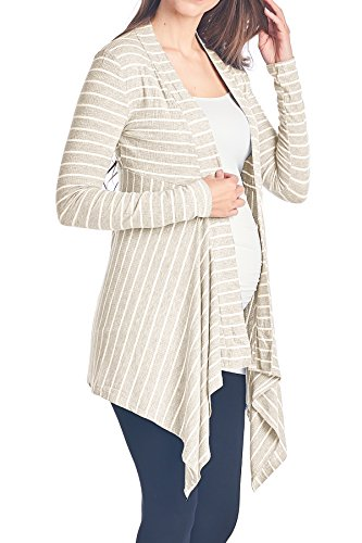 Beachcoco Women's Maternity Open-Front Stripe Rib-Cardigan (XL, Oatmeal)