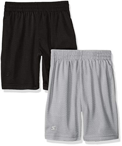 Starter Big Boys' 2-Pack Basic Mesh Short, Black with Vapor Grey, Large