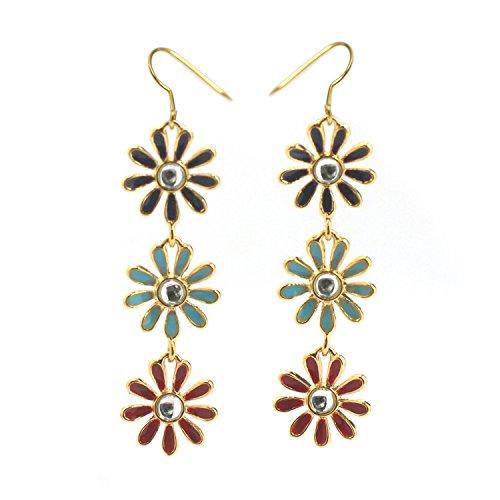 (De Buman 14k Gold Plated Enamel Flower Earrings (Swarovski)